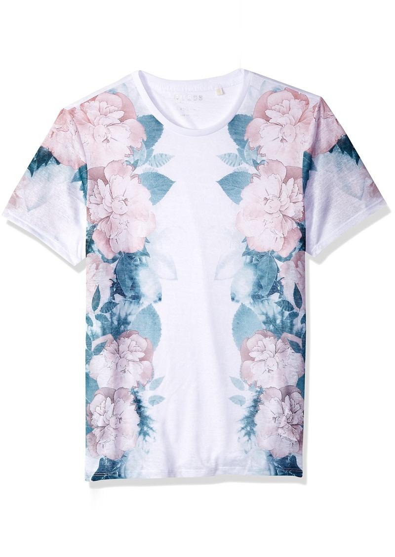 GUESS Men's Short Sleeve Wynn Floral Print Crew  M