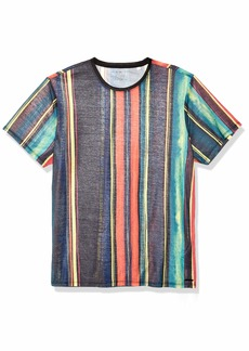 GUESS Men's Short Sleeve Wynn Liquefied Stripe Crew LIQUIFIED Black/Multi L