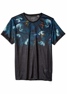 GUESS Men's Short Sleeve Wynn Summer Tropics Crew  L