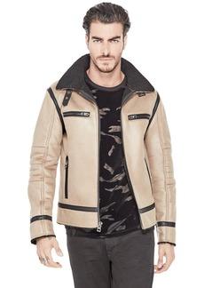 GUESS Men's Sierra Shearling Jacket Khaki tan XL