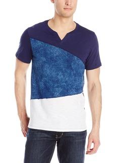 GUESS Men's Silas Indigo Block Slit Neck T-Shirt  L