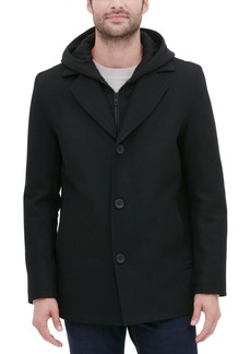 Guess Men's Single Breasted Overcoat with Zip-Out Hood