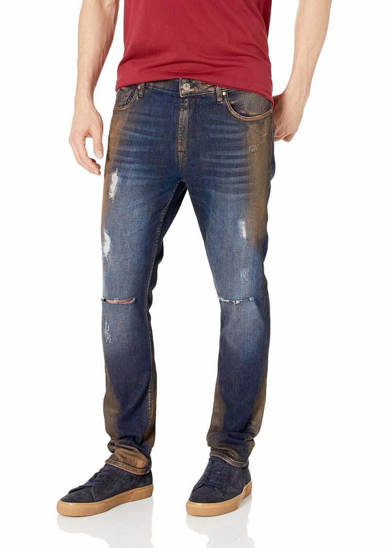 Guess Men's Skinny Basic Moto Jean Gold foil wash