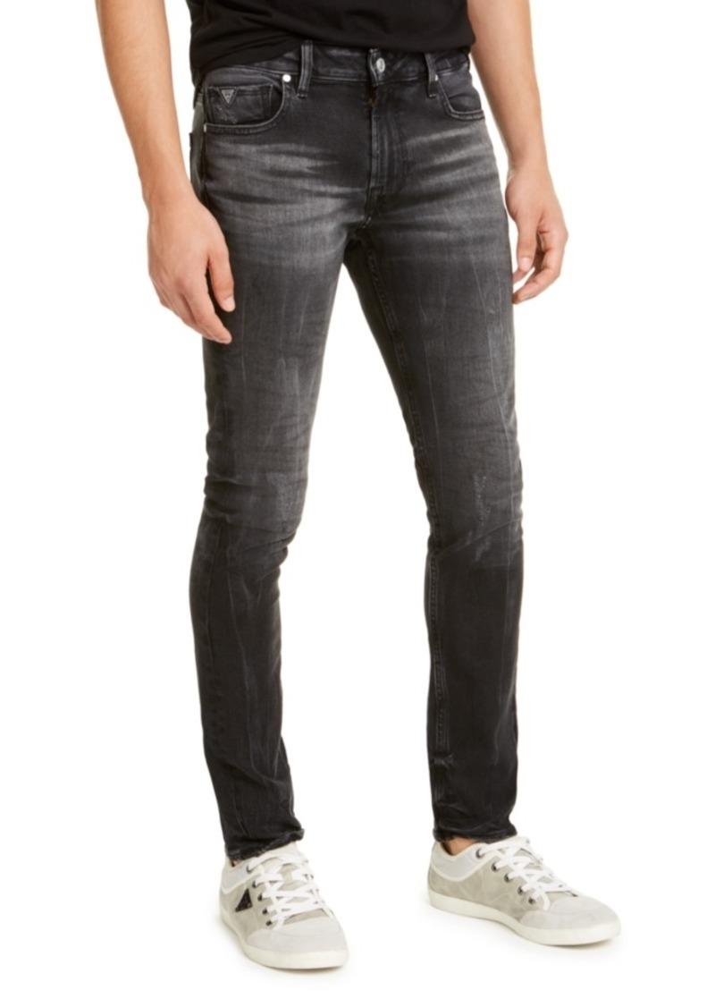 Guess Men's Skinny-Fit Black Crinkle Jeans