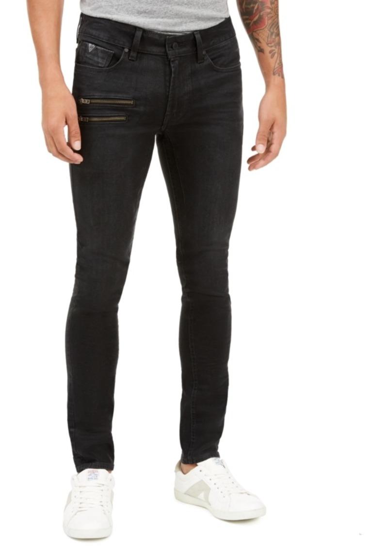 Guess Men's Skinny-Fit Coated Zipper Jeans