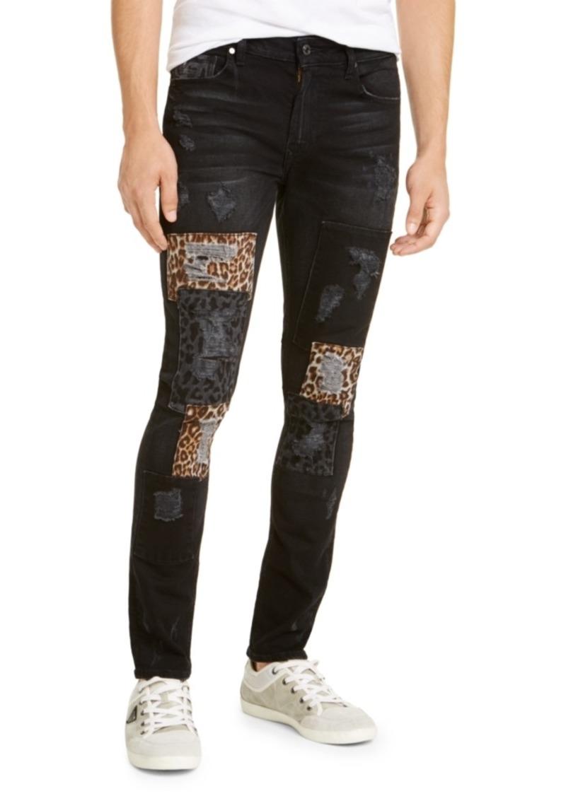 Guess Men's Skinny Fit Leopard Patch Jeans