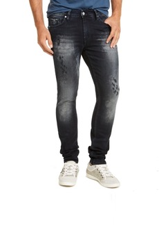 Guess Men's Skinny Fit Midnight Acid Destroyed Morocco Jeans