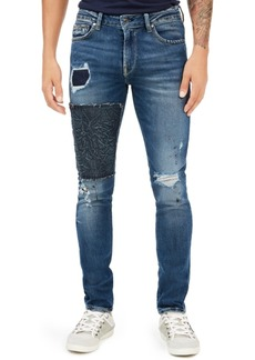 Guess Men's Skinny-Fit Stitch Destroyed Jeans