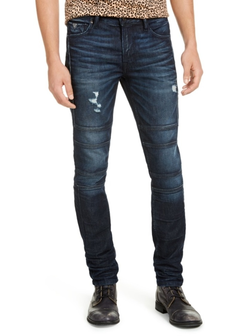 Guess Men's Skinny-Fit Stretch Destroyed Moto Jeans