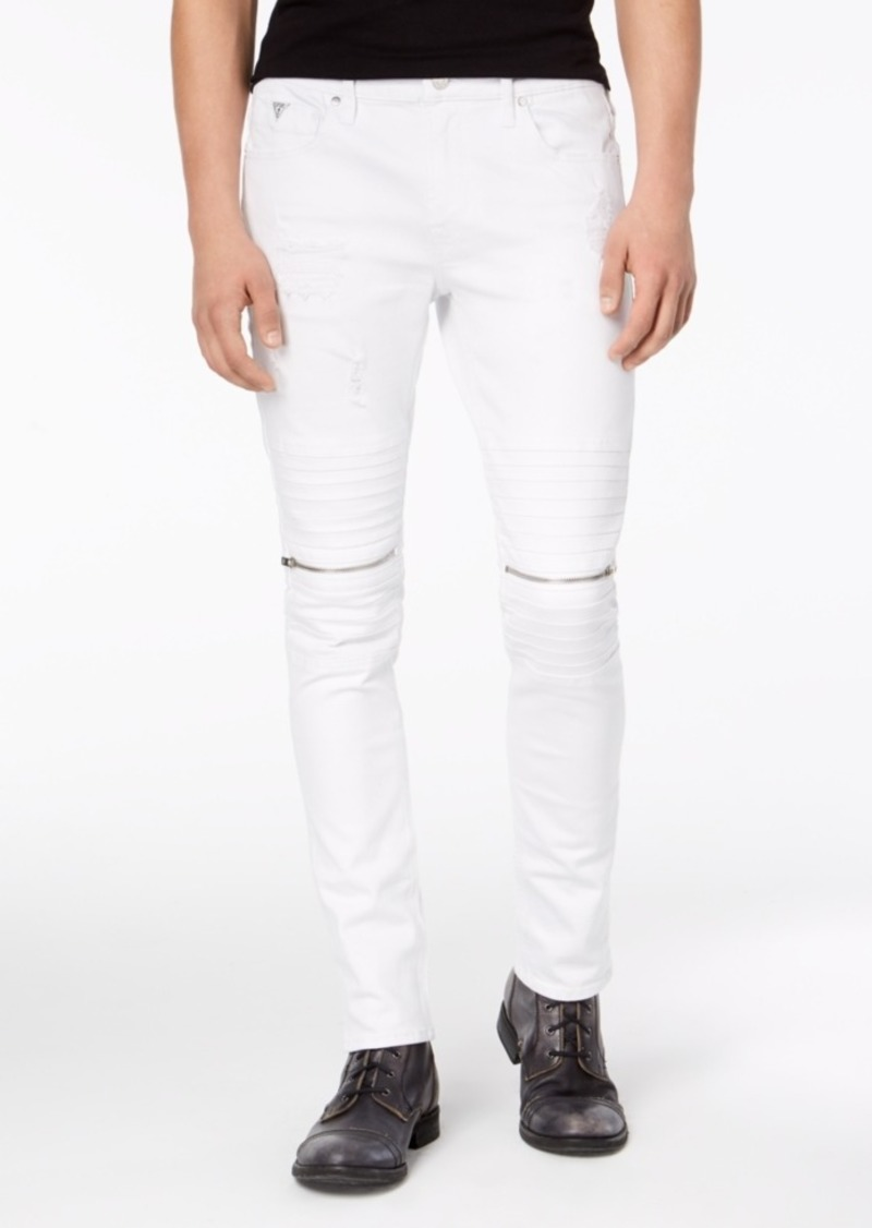 3842ef49cbba49 SALE! GUESS Guess Men's Skinny-Fit Stretch White Destroyed Moto Jeans