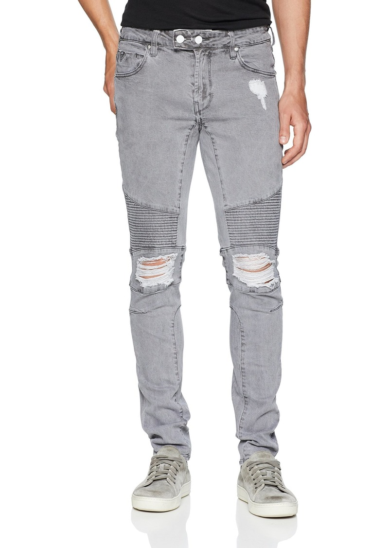 GUESS Men's Skinny Quilted Moto Jean Adventure Grey wash Destroy