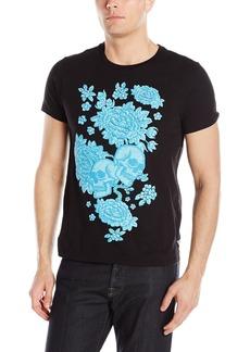GUESS Men's Skull Flowers Crew Neck T-Shirt