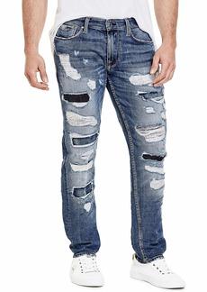 GUESS Men's Slim Fit Mid Rise Tapered Leg Ripped Jean  34W X 30L