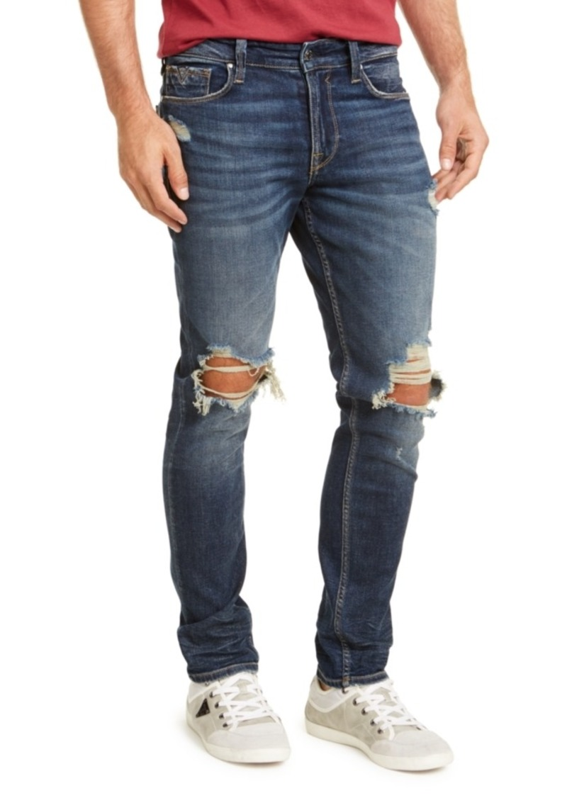 Guess Men's Slim Fit Tapered Busted Knee Morocco Jeans
