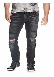 GUESS Men's Slim Fit Tapered Leg Moto Jean Encore WASH Black W/Destroy 32W X 32L
