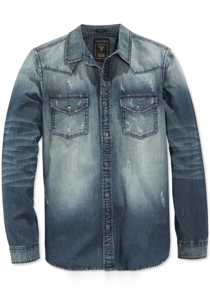 Guess Men's Slim-Fit Western Long-Sleeve Storied Wash Denim Shirt