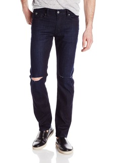 GUESS Men's Slim Straight Crushed Wash Jean With Knee Slits
