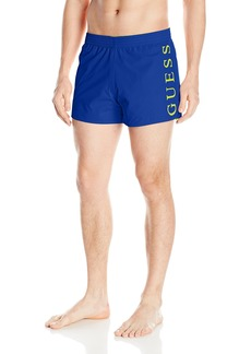 GUESS Men's Solid Reversible 13 Elastic Waist Swim Trunk