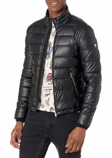 GUESS Men's Stretch Puffer Jacket Jet Black w/Frost Grey
