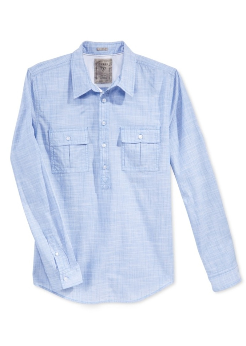 Guess Men's Sunset Heathered Popover Shirt