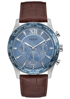 Guess Men's Tycoon Chronograph Brown Leather Strap Watch 45mm