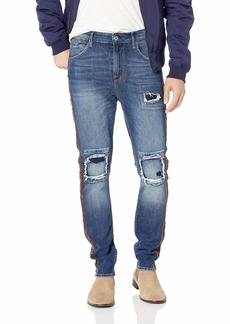 GUESS Men's Utility Fit Jean with Stripes Nightlife wash Destroy