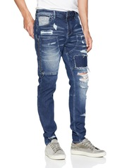 Guess Men's Utility Fit with Zip Jean Two Tone Indigo wash Destroy