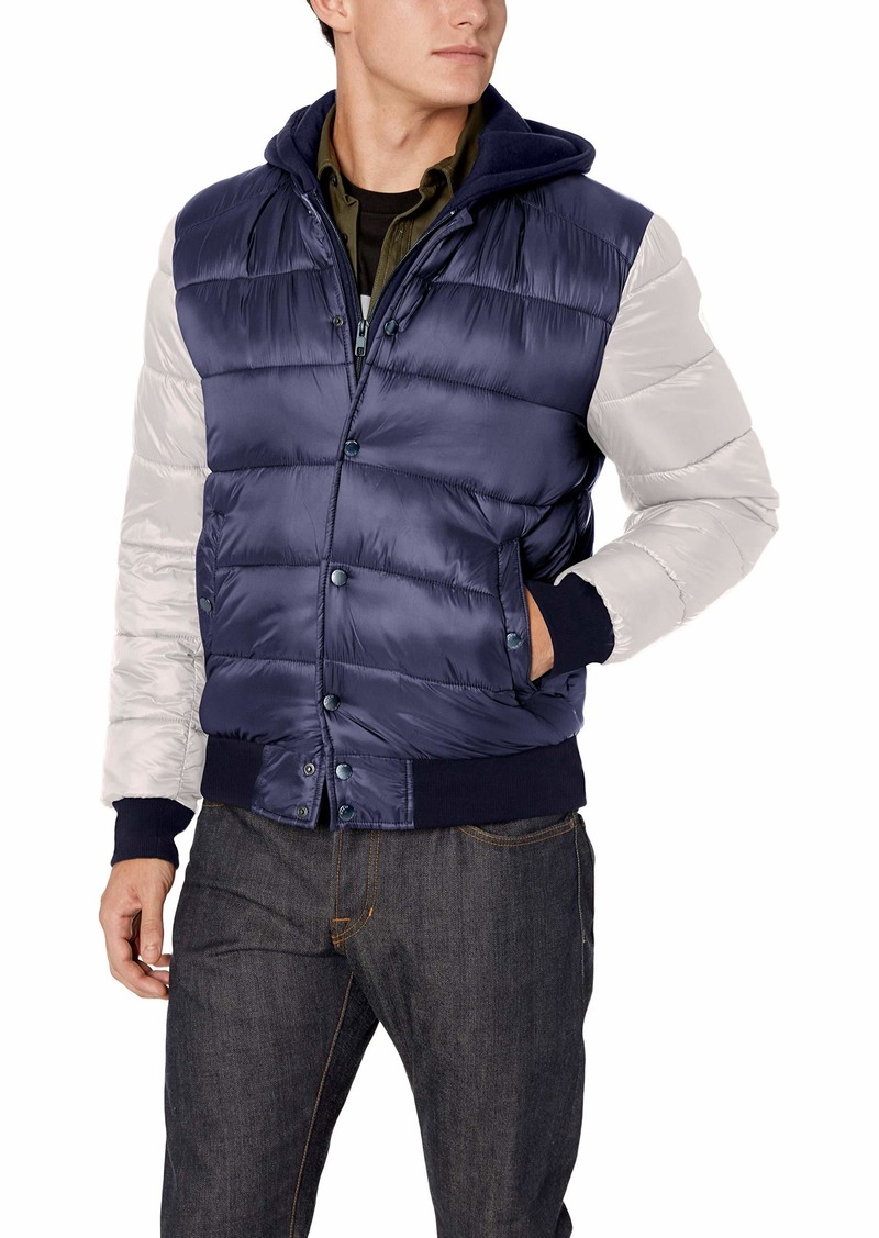 GUESS Men's Varsity Puffer Jacket with Hood