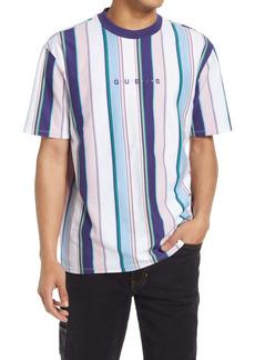 GUESS Men's Vertical Stripe Embroidered Logo T-Shirt