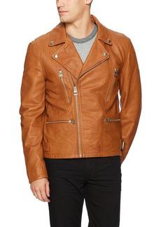 GUESS Men's Volt Leather Biker Jacket  XXL