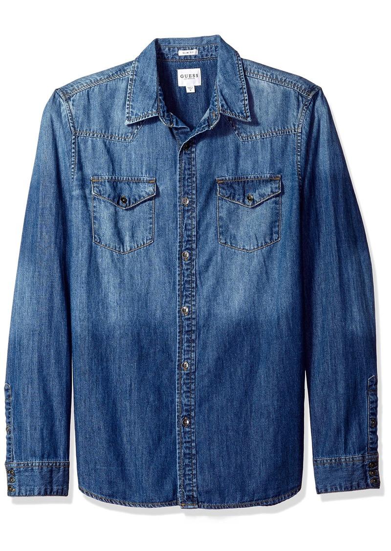 36ed2106db GUESS GUESS Men s Western Slim Denim Shirt in Medium Blue Wash XL