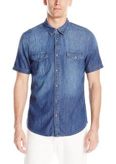 GUESS Men's Western Slim Denim Shirt  Wash Blue M