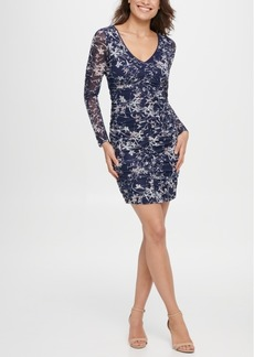 Guess Mesh Ruched Floral Dress