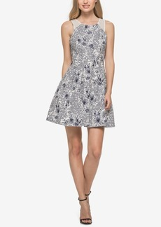 Guess Mesh-Trim Printed Fit & Flare Dress