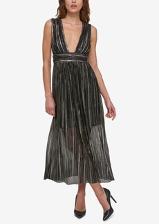 Guess Metallic Illusion V-Neck Dress