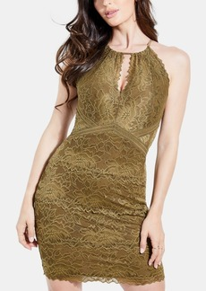 Guess Metallic Lace Keyhole Dress
