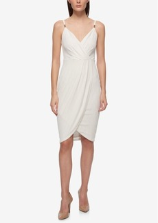 Guess Metallic-Print Faux-Wrap Slip Dress
