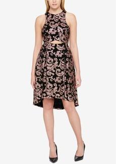 Guess Metallic-Scroll-Print Cutout High-Low Dress