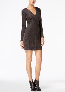 Guess Metallic Striped Faux-Wrap Dress