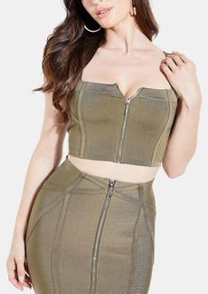 Guess Mirage Zip-Front Crop Top