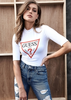 Guess Mock-Neck Elbow-Sleeve Top