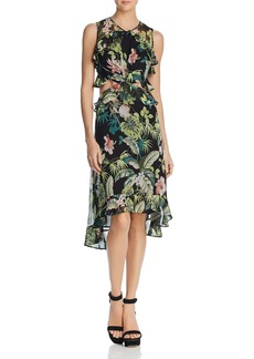 GUESS Natalie Botanical Ruffled Cutout Dress