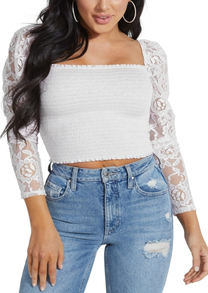 Guess Nila Lace-Sleeve Smocked Top