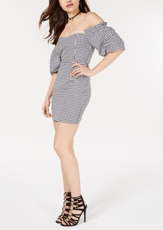 Guess Off-The-Shoulder Gingham Bodycon Dress