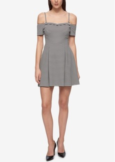 Guess Off-The-Shoulder Knit Fit & Flare Dress