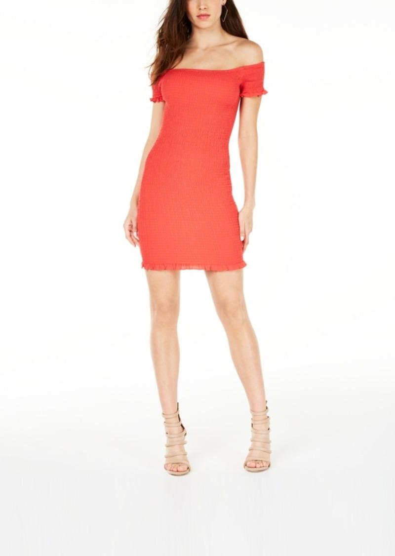 Guess Off-The-Shoulder Rona Smocked Dress