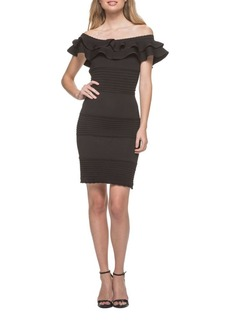 Guess Off-the-Shoulder Ruffled Knit Bodycon Dress