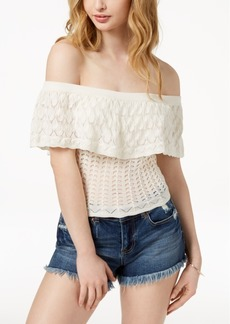 Guess Off-The-Shoulder Ruffled Sweater