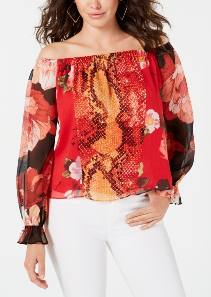 Guess Off-The-Shoulder Snakeskin-Print Top