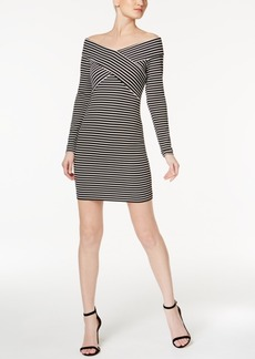 Guess Off-The-Shoulder Striped Sheath Dress